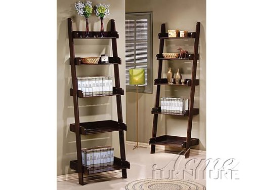 Wales Compact Espresso Finish Leaning Ladder Wall Shelf