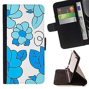 - Baby Blue White Floral Pattern - Estilo PU billetera de cuero del soporte del tir???¡¯????n [solapa de cierre] Cubierta- For Samsung Galaxy Core Prime £¨ Devil Case £©