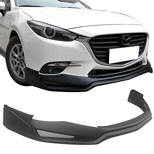 Front Bumper Lip Fits 2017 Mazda 3 | V3 Style PP Unpainted Black Air Dam Chin Diffuser Lip By IKON MOTORSPORTS