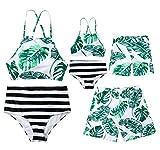 Family Matching Leaf Print Swimsuit Parent-Child Striped Bathing Suit 2 Pieces Bikini Sets 1 Piece Swim Shorts (Boy, Boy/ 1-2T)