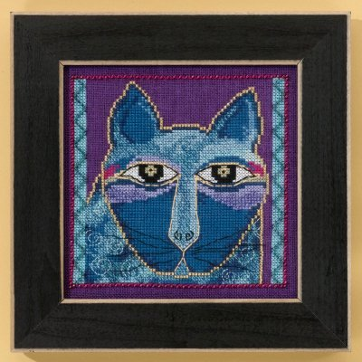 Wild Blue Cat Beaded Counted Cross Stitch Kit (Aida) 2015 Laurel Burch by Mill Hill LB305112