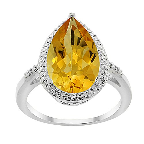10K White Gold Natural Citrine Ring Pear Shape 10x15 mm Diamond Accent, size 5