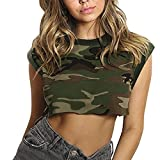 Libermall Women's Casual Short Sleeve T-Shirts Camouflage Print O-Neck Crop Tops Loose Tunic Shirt Blouse