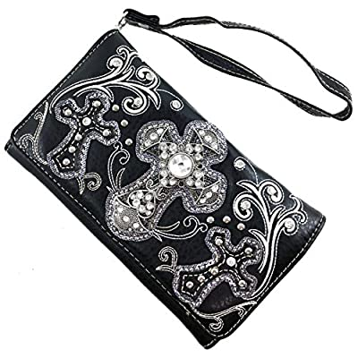 Justin West Embroidery Floral Silver Cross Concealed Carry Handbag Purse Wallet