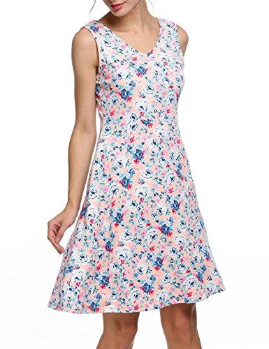 cooshional Vestido estampado floral sin mangas vestido casual de verano de las mujeres Rosa claro