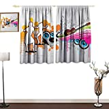 RenteriaDecor Grunge Room Darkening Curtains Music People with Turntable and Speakers Dancing Funky Urban Nights Guitar Print Blackout Curtains for Bedroom W63 x L63