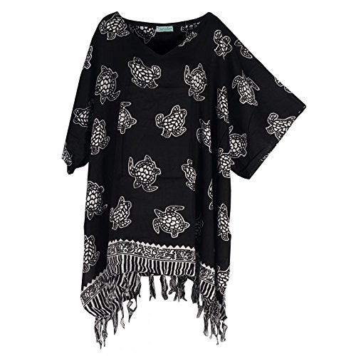 Tropicalsale Women's Plus Size Black Turtle Printed Caftan Tunic Hippy Top