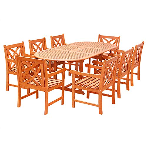 (VIFAH V144SET25 9 Piece Outdoor Wood Dining Set with Oval Extension Table and Flower Back Armchairs)