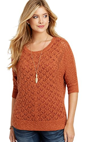 Top maurices Women's Pointelle Stitch Pullover Dolman Sweater for sale