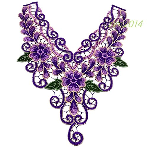 Embroidered Applique Sew On Decorative Patches Badge Floral Neckline Lace Flower Trimmings Venice Neck Collar Embellishments Clothes Bust Dress Hat Bag Jeans Transfer Embroidery Sewing Craft DIY