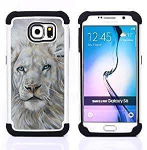- white lion snow painting king animal fur/ H??brido 3in1 Deluxe Impreso duro Soft Alto Impacto caja de la armadura Defender - SHIMIN CAO - For Samsung Galaxy S6 G9200