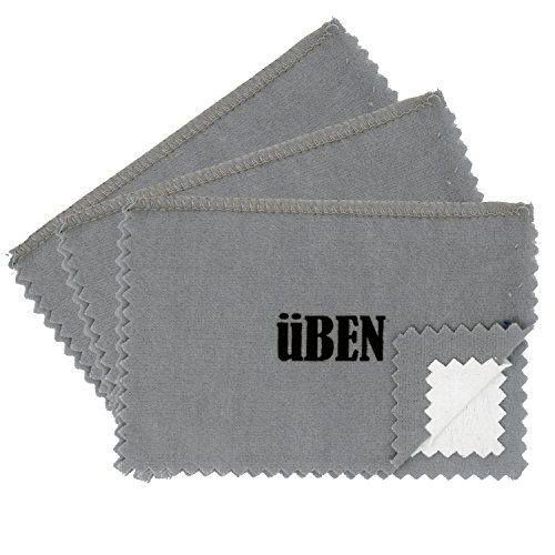 UBEN Medium Jewelry Polishing Cleaning Cloth for Gold, Silver, Platinum 6 x 8 -Set of 3 Grey/White Cloths