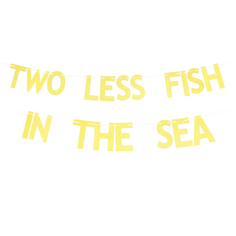 Bridal Shower Engagement Glitter Gold Two Less Fish In The Sea Banner And Any Other Spec ZMTC Bachelorete Party Funny Nautical Theme Party Decoration Sign Bunting Garland Photo Booth Props For Wedding