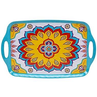 Certified International Corp Akela Melamine Rectangular Tray with Handles, 19  x 12 , Multicolor