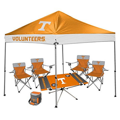NCAA Hall of Fame Tailgate Bundle - University of Tennessee Knox (1 9x9 Canopy, 4 Kickoff Chairs, 1 16 Can Cooler, 1 Endzone Table)