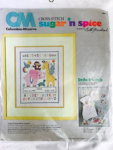 Friends Sampler Birth (Little Friends Birth Sampler - Columbia-Minerva Sugar N Spice Cross Stitch Kit 6883)
