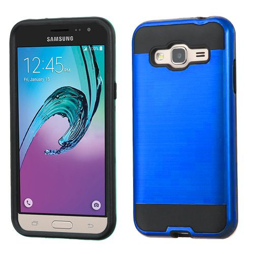 Wydan Case Compatible for Samsung Galaxy J3V, Sky, Express Prime, Amp Prime, Sol, J3 2016 - Hybrid Hard Shockproof Case Heavy Duty Protective Brushed Phone Rugged Protector Cover - Blue Black