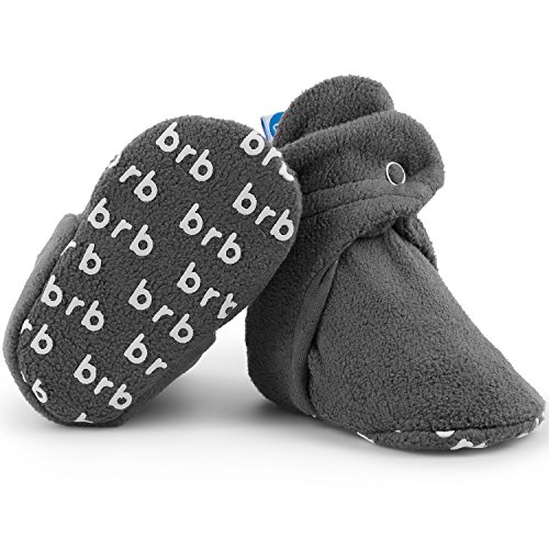 (Fleece Baby Booties - Organic Cotton & Gripper Bottoms, Cozy Boys & Girls Bootie (US 4, Slate))