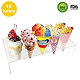 10 Holes Mini Ice Cream Stand Acrylic Cone Holder Rack to Display Ice Cream Cone Popcorn Candy Mini Oreo Sugar Snow Cone French Fries Sweets Savory