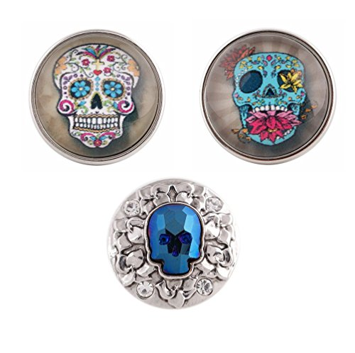 Snap Charm Happy Laughing Colorful Skulls Bling Trio 20mm 3/4