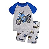 Boys Motorcycle Pajamas 100% Cotton Short PJS Set Kids Summer Clothes Sleepwear Size 2T-7T (7, Gray)