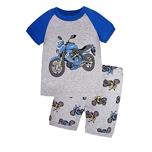 Boys Motorcycle Pajamas 100% Cotton Short PJS Set Kids Summer Clothes Sleepwear Size 2T-7T (7, Gray) by CaoYu