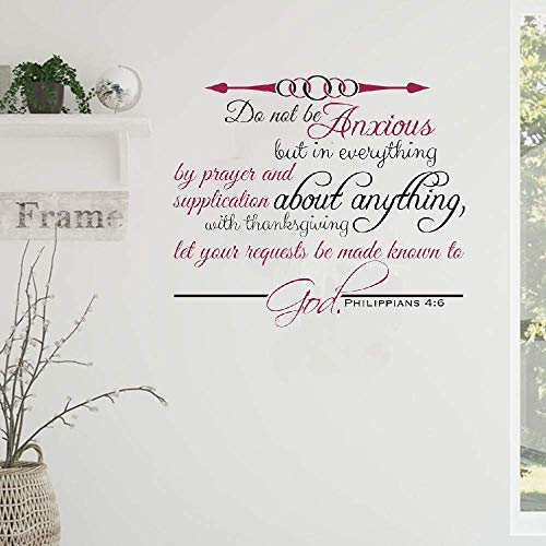 Decals Wall Stickers Sayings Lettering Room Home Wall Decor Mural Art Do Not Be Anxious But in Everything by Prayer Christian God Scripture Bible Verse
