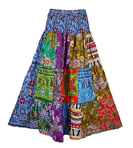 BONYA Women's Hippie Boho Colorful Patchwork Smocked Stretch Waist Tiered Long Skirt (Color33)