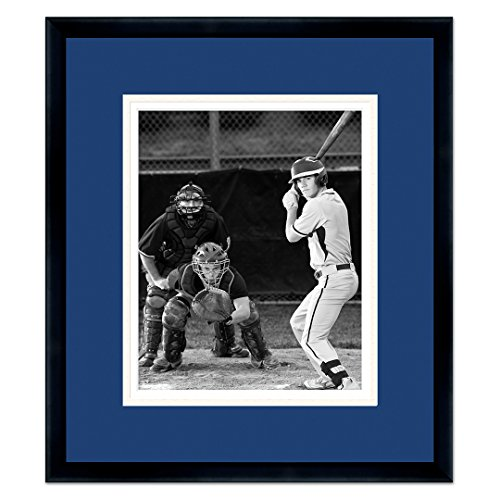 Black Wood Frame with a Triple Mat for 8x10 Photos - Navy Blue , White, (Los Angeles Dodgers Baseball Mat)