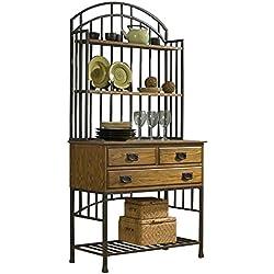 Home Styles 5050-615 Oak Hill Bakers Rack Hutch, Distressed Oak Finish