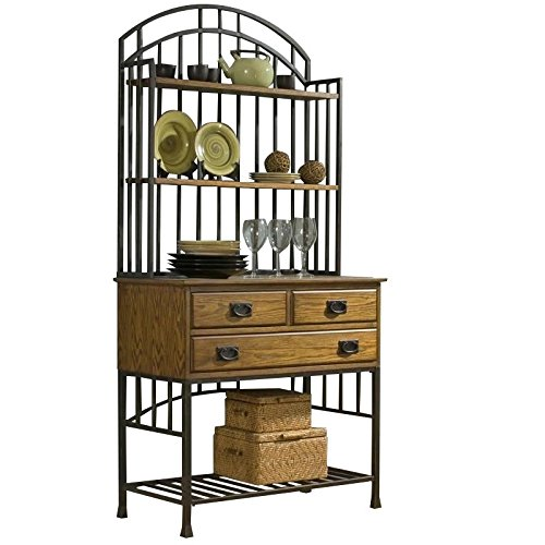 Home Styles 5050-615 Oak Hill Bakers Rack Hutch, Distressed Oak Finish