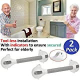AmeriLuck Bath and Shower Suction Grab/Grip Bar with Indicator Shower Handle for Bathroom - 16.5in Medical Assist Balance Hand Rail for Tub Safety - for Elderly/Senior/Handicap (16.5in, 2 Pack)