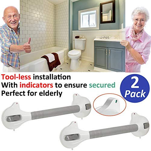 AmeriLuck Bath and Shower Suction Grab/Grip Bar with Indicator Shower Handle for Bathroom - 16.5in Medical Assist Balance Hand Rail for Tub Safety - for Elderly/Senior/Handicap (16.5in, 2 Pack) by AmeriLuck (Image #8)