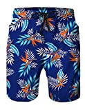 Loveternal Youth Navy Blue Swim Trunks Hawaiian