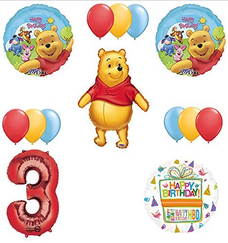 Winnie The Pooh 3rd First Birthday Party Supplies and Balloon Bouquet Decorations