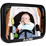 Zacro Baby Car Mirror- Bracket Fixing Backseat Mirror to Monitor Rear Facing Infant Through Extra-Large Wide Angles, Shatterproof, Safety & Stable Baby Mirror Fits for Most Cars(Size: M)