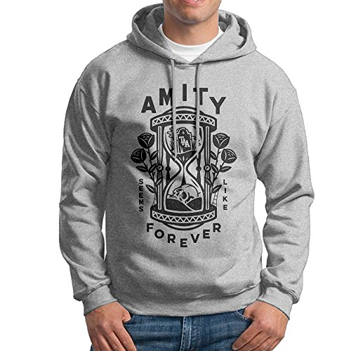 Bekey Men's THE AMITY AFFLICTION Never Along Pullover Hoodie Sweatshirt XL Ash (Hat Affliction Top)