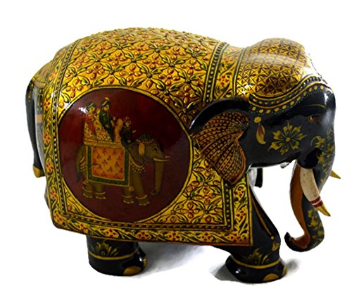 Eurasia Handmade Kadam Wood Elephant With Pure Gold Work Handcarved By Artisans Multi Color Size :- 4''-12'' by Eurasia (Image #3)
