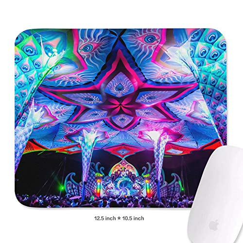 (Family Game Office Mousepad Trippy Trance Bassline Personality Lightweight Non-Slip Rubber Rectangular Wrist Rest Pad)