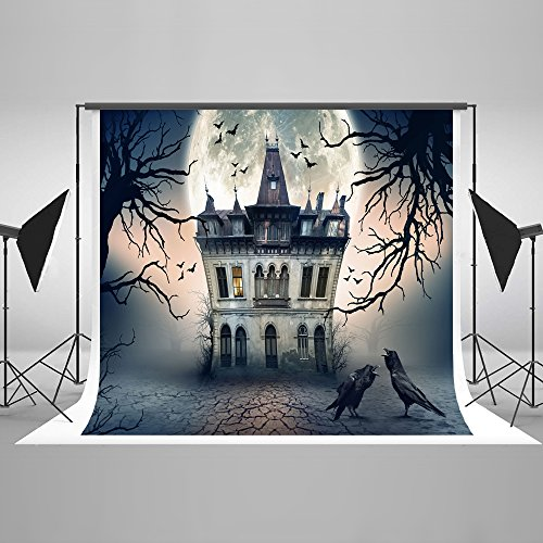 Ghost Halloween Castle Haunted Night Luxurious Backdrop - Velvety Collapsible Seamless Cotton Fabric Studio Props pour Toussaint (Scariest Halloween Movies Ever)
