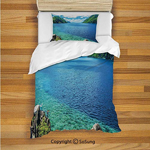 Nature Kids Duvet Cover Set Twin Size, Scenic View Sea Bay and Mountain Islands in Palawan Philippines Idyllic Image 2 Piece Bedding Set with 1 Pillow Sham,Blue Green White
