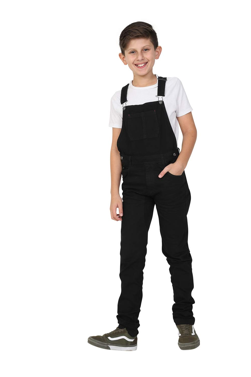 Wash Clothing Company Boys Slim Fit Black Bib-Overalls Age 4-14 Years Kids Dungarees
