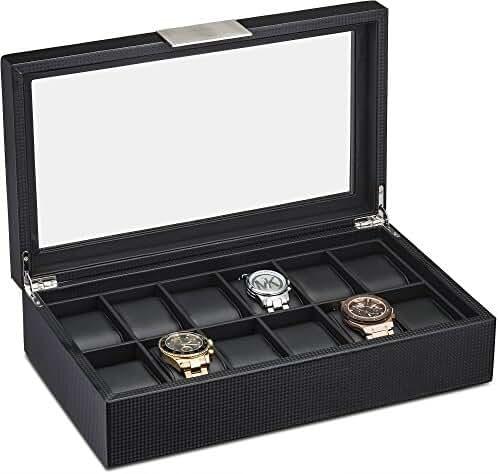 Watch Box for Men - 12 Slot Luxury Carbon Fiber Design Display Case, Large Holder, Metal Buckle -Black