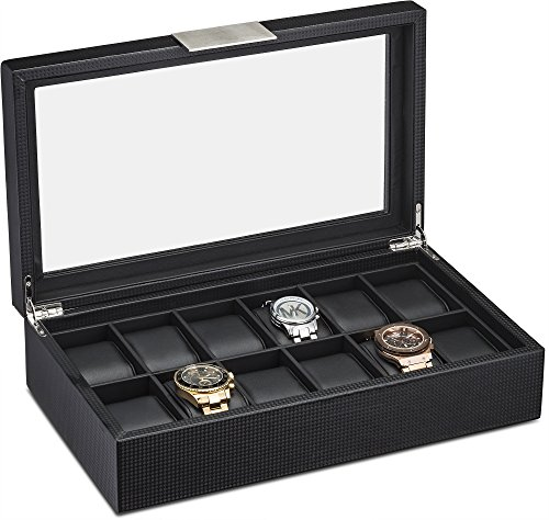 Watch Box for Men - 12 Slot Luxury Carbon Fiber Design Display Case, Large Holder, Metal Buckle -Black