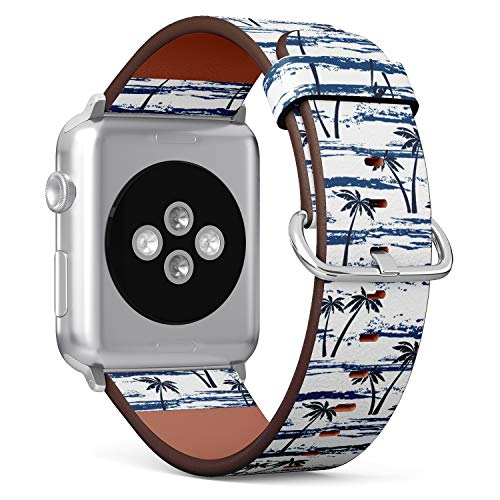 - (Tropical Summer Pattern with sea, Beach and Palm Trees) Patterned Leather Wristband Strap for Apple Watch Series 4/3/2/1 gen,Replacement for iWatch 42mm / 44mm Bands