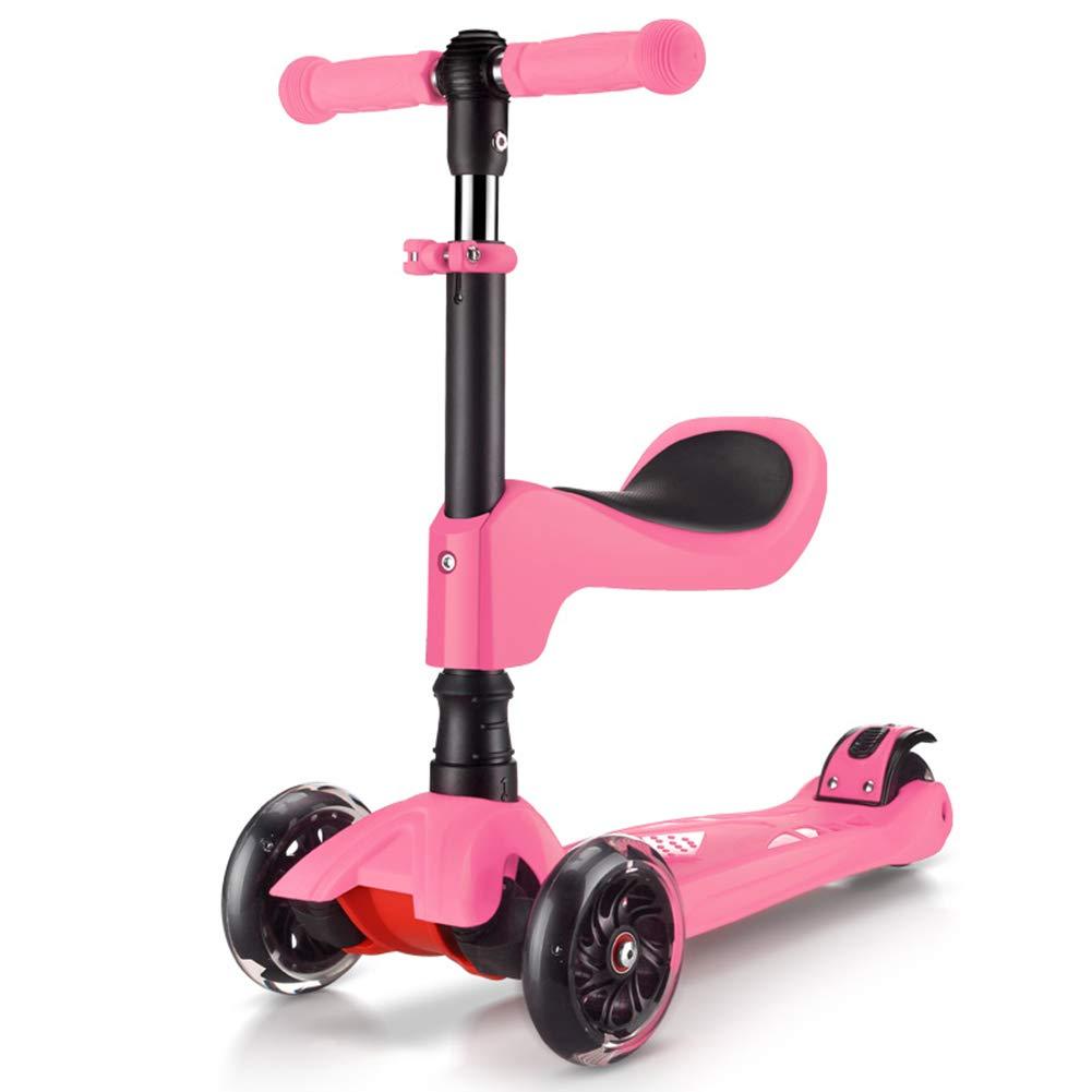 玄関先迄納品 キックスクーター三輪車スケートボードペダル式乗用スタントスクーター折りたたみ Tバーハンドル調節可能な座席付きLEDライトアップホイール付き Pink B07H7H3WDZ Pink, 浦川原村:3536cbbb --- a0267596.xsph.ru