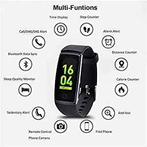 Fitness Tracker HR, Activity Tracker Touch Screen Wearable Pedometer Bluetooth Waterproof Smart Wristband Bracelet with Replacement Band for Android and iOS by TGelecstore