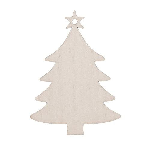 ODN 10Pcs Christmas Wood Chip Tree Ornaments Hanging Pendant Decoration Gifts (Christmas Tree)