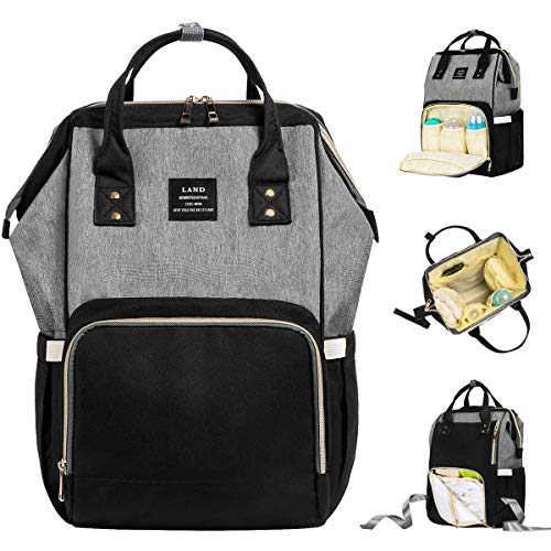 (Landuo Diaper Bag Multi-Function Waterproof Travel Backpack Nappy Bags for Baby Care, Large Capacity, Stylish and Durable (Grey-Black))