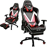 GTRACING Ergonomic Gaming Chair High back Swivel Computer Office Chair Adjusting Headrest and Lumbar Support Racing Chair Recliner Napping Chair with Footrest (Red/Black) (GT004-RED)